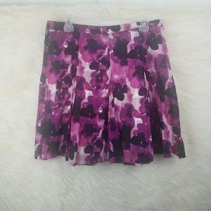 Ann Taylor loft pleated skirt floral purple size 8